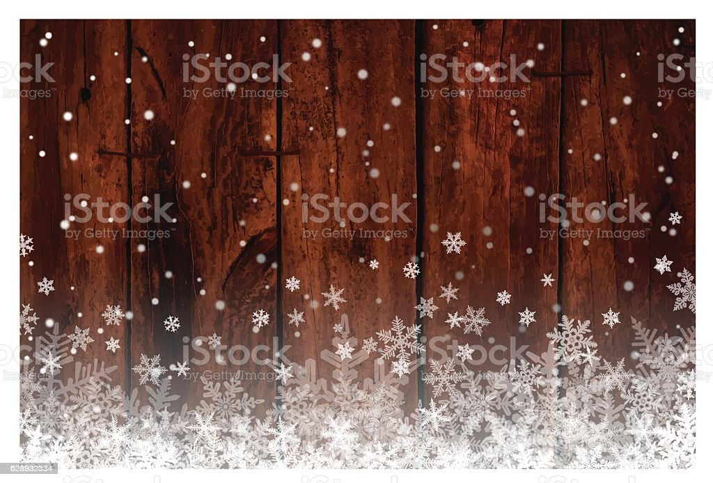 Christmas background [Wooden wall and snow] vector art illustration