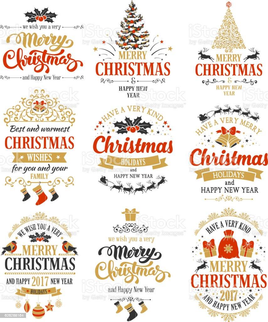 Christmas badges set vector art illustration
