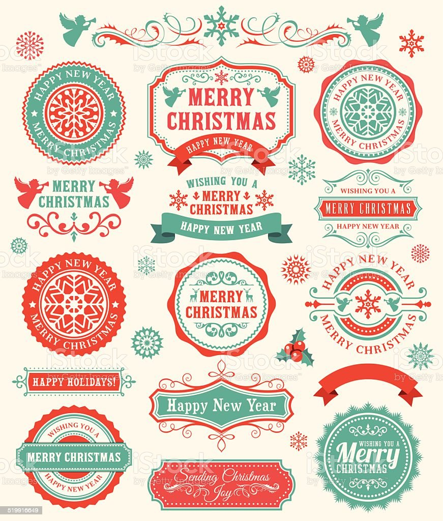 Christmas Badges vector art illustration