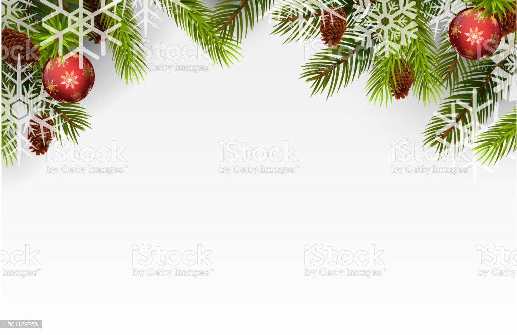 Christmas ball and Christmas tree vector art illustration