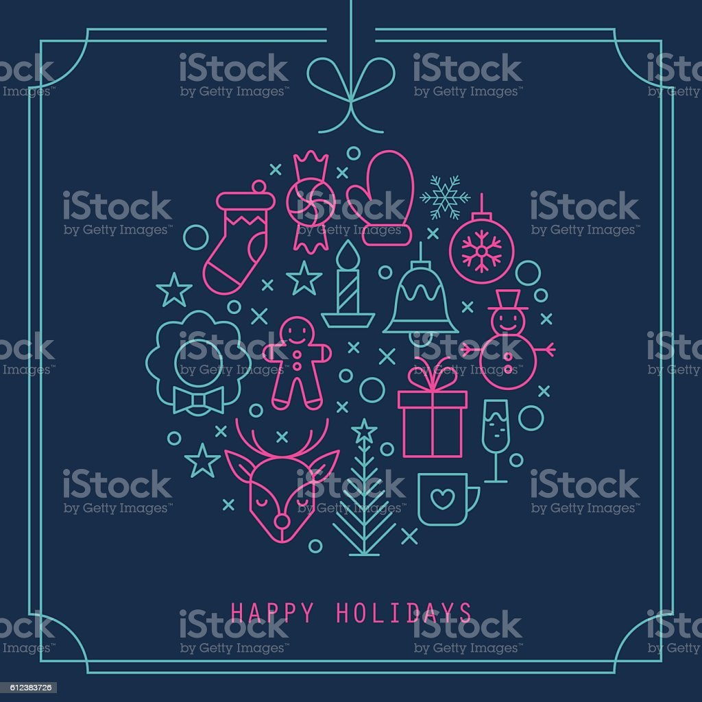 Christmas ball design with thin line icons. Vector illustration vector art illustration