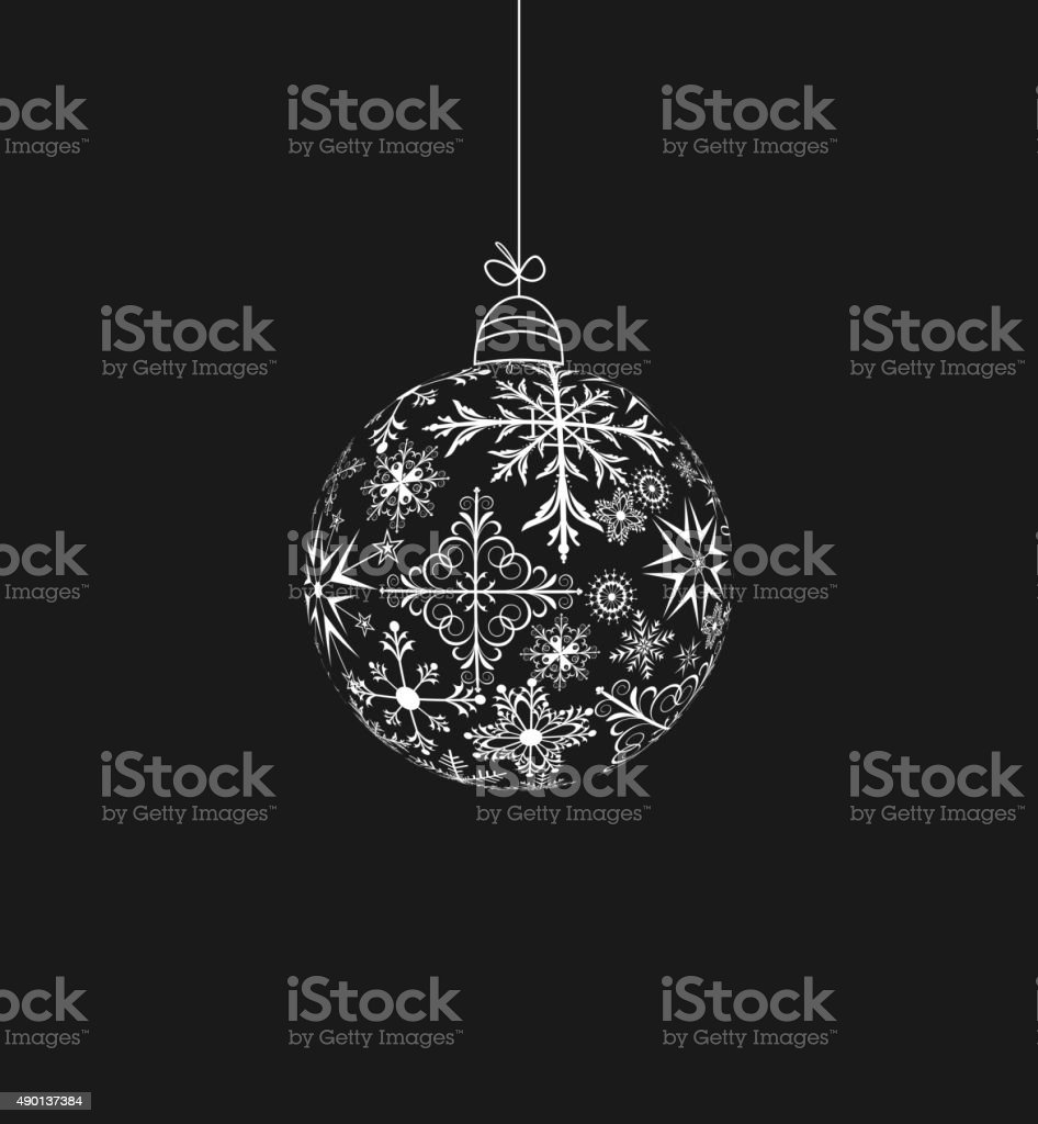 Christmas ball made of snowflakes vector art illustration