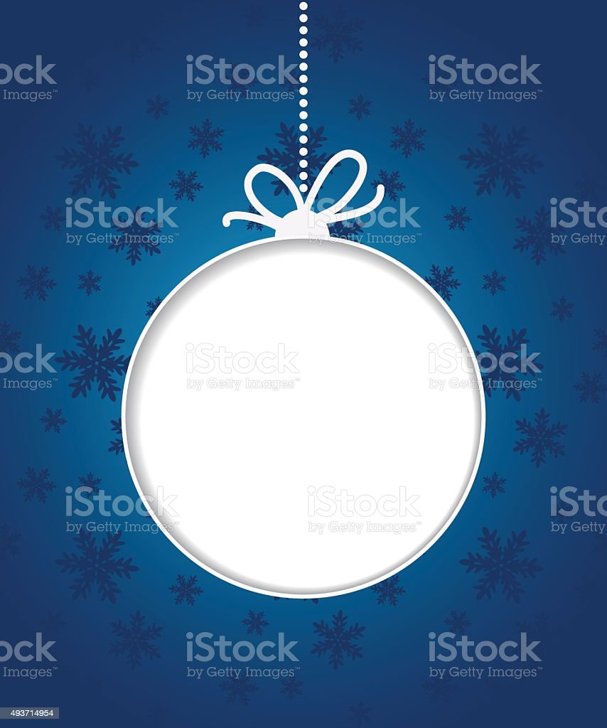 Christmas ball on blue background with snowflakes. vector art illustration