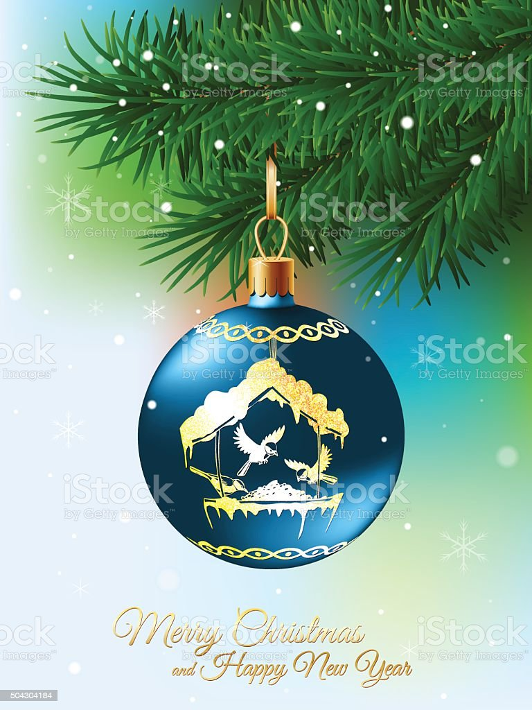 Christmas Ball On Fir Branch Vector Illustration vector art illustration