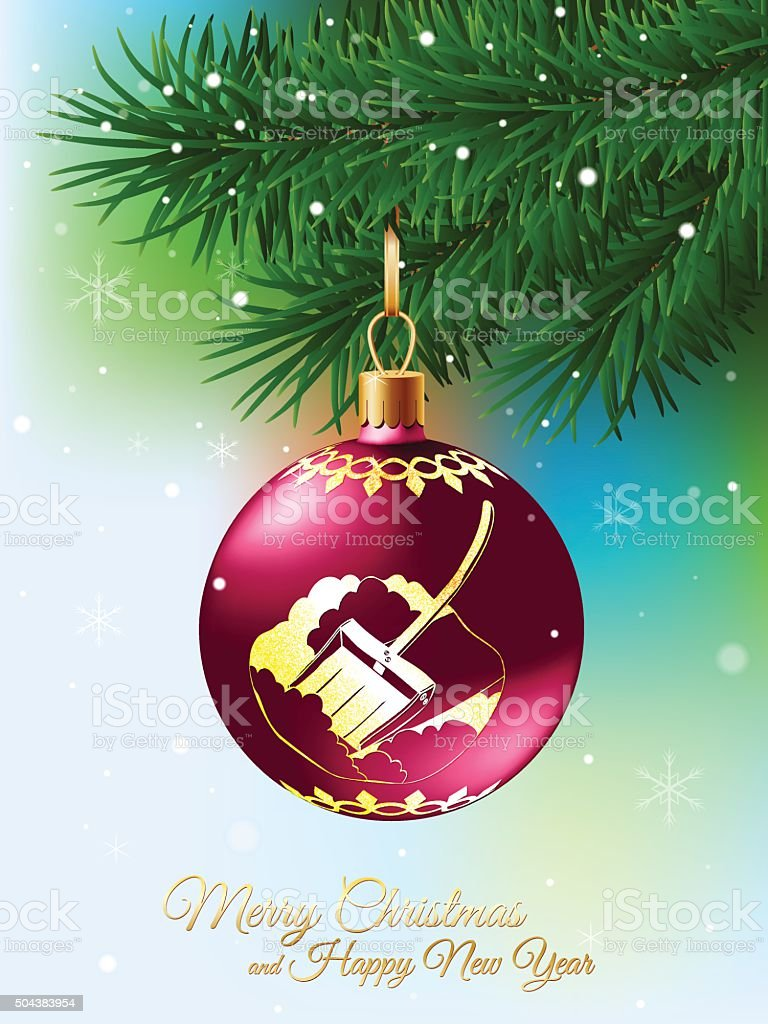 Christmas ball decorated with glitter ornament on fir branch