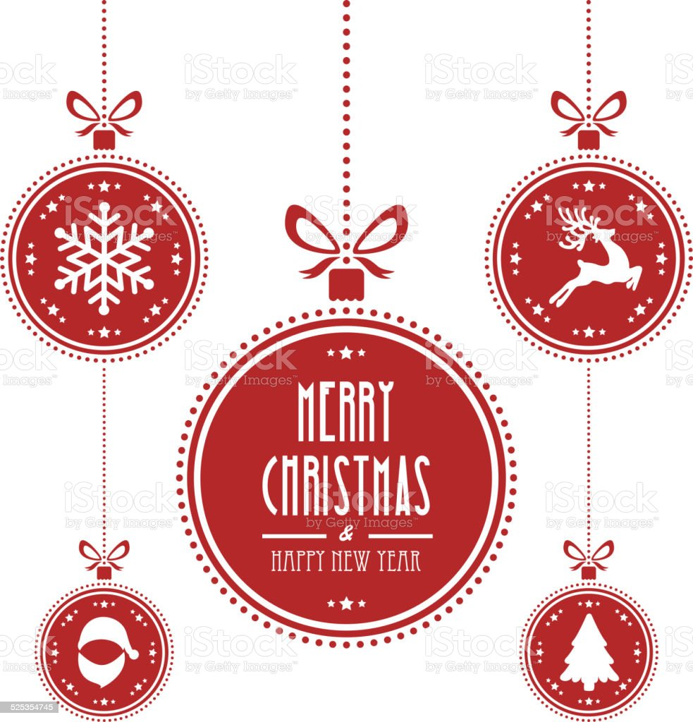 christmas ball red isolated background vector art illustration
