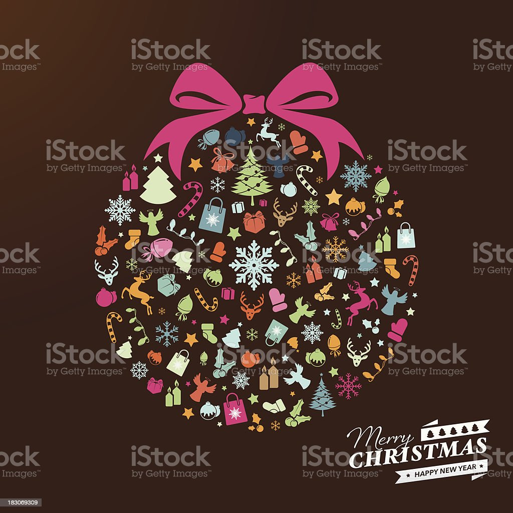 Christmas ball with colourful icons vector art illustration
