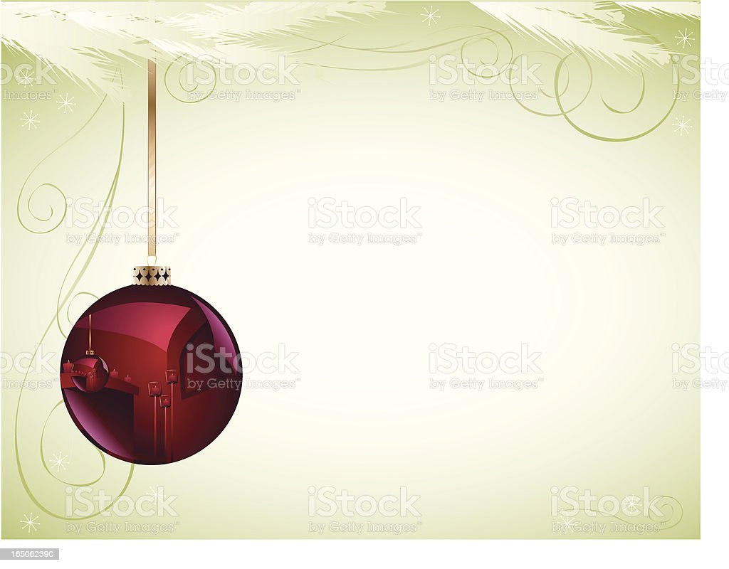 Christmas Ball with Greenery royalty-free stock vector art