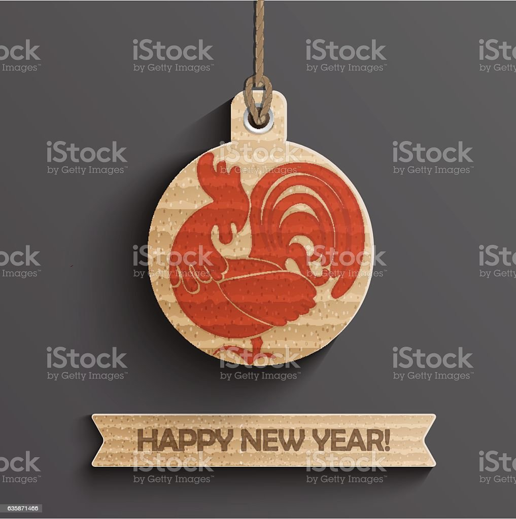 Christmas ball with rooster, 2017 year. vector art illustration
