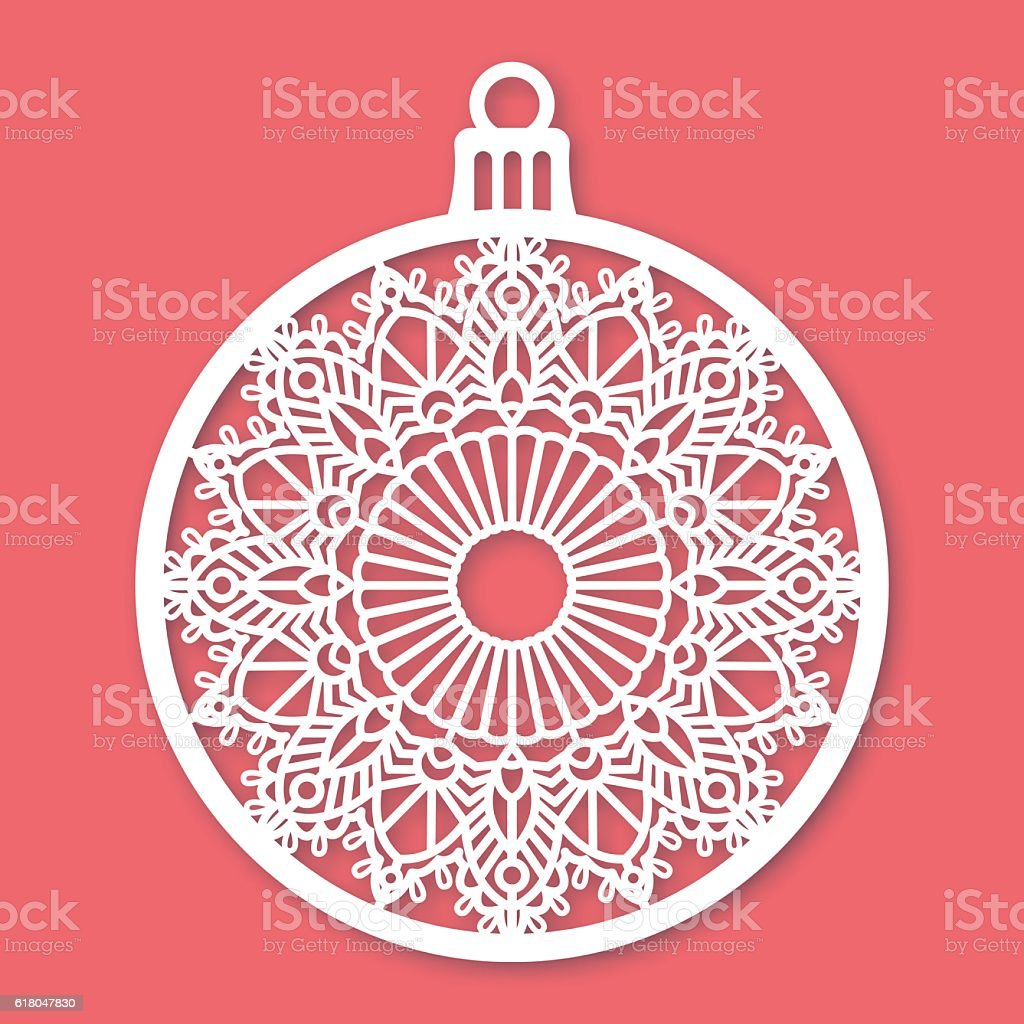 Christmas ball with snowflake. Laser Cutting template vector art illustration