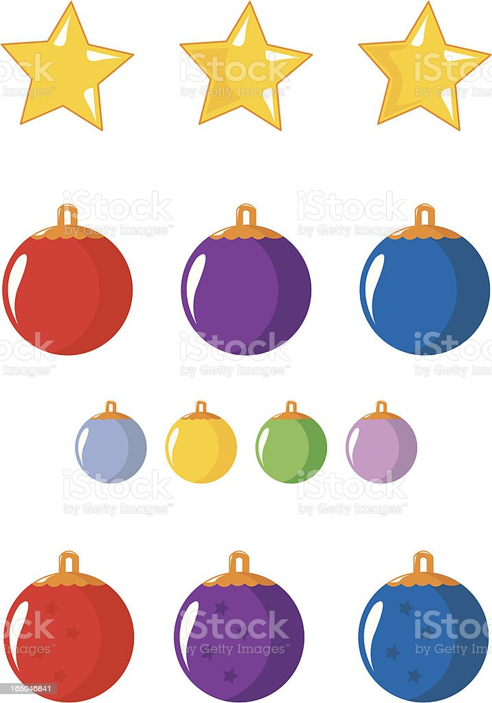 Christmas balls and star royalty-free stock vector art