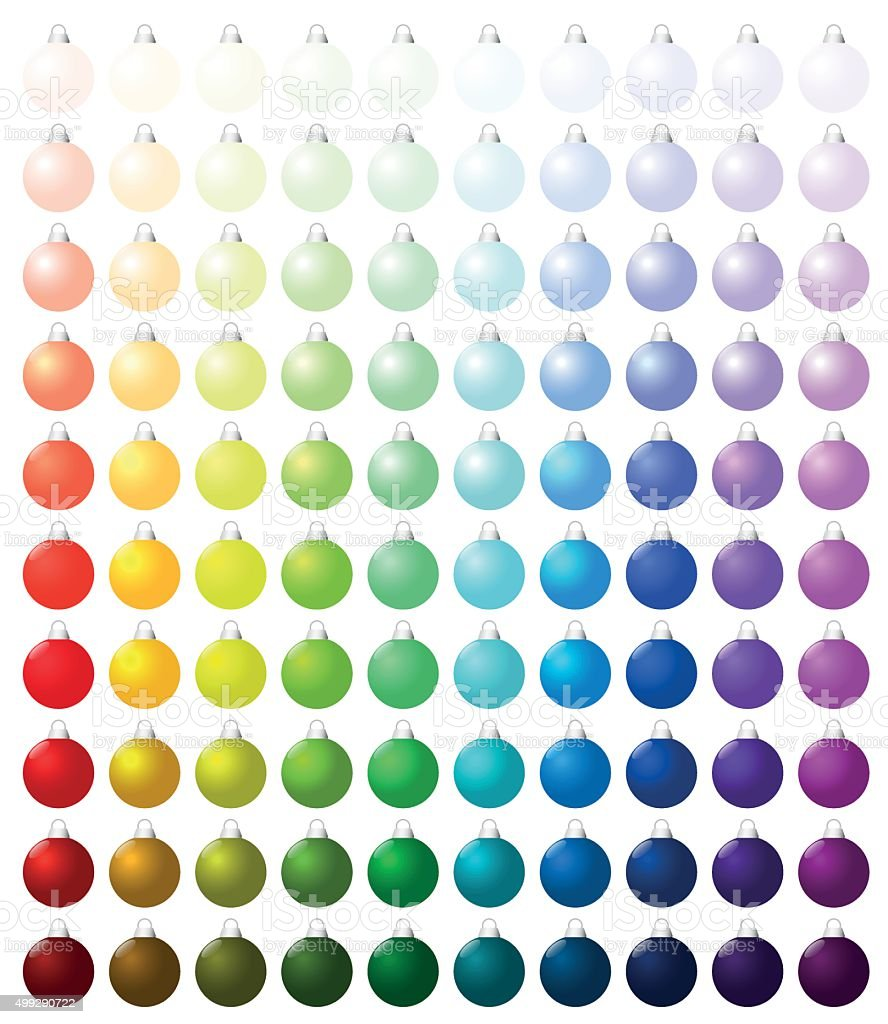 Christmas Balls Collection Icons Colors Hundred vector art illustration