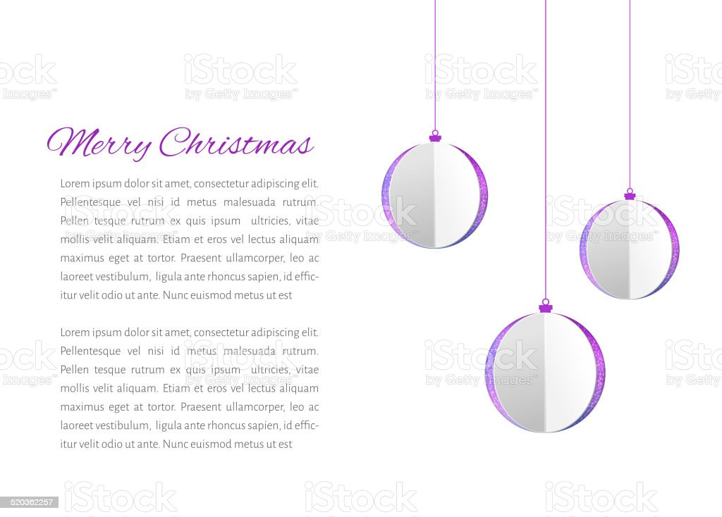 Christmas balls cutted from papaer vector art illustration