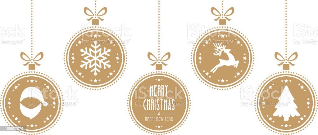 christmas balls hanging gold isolated background vector art illustration