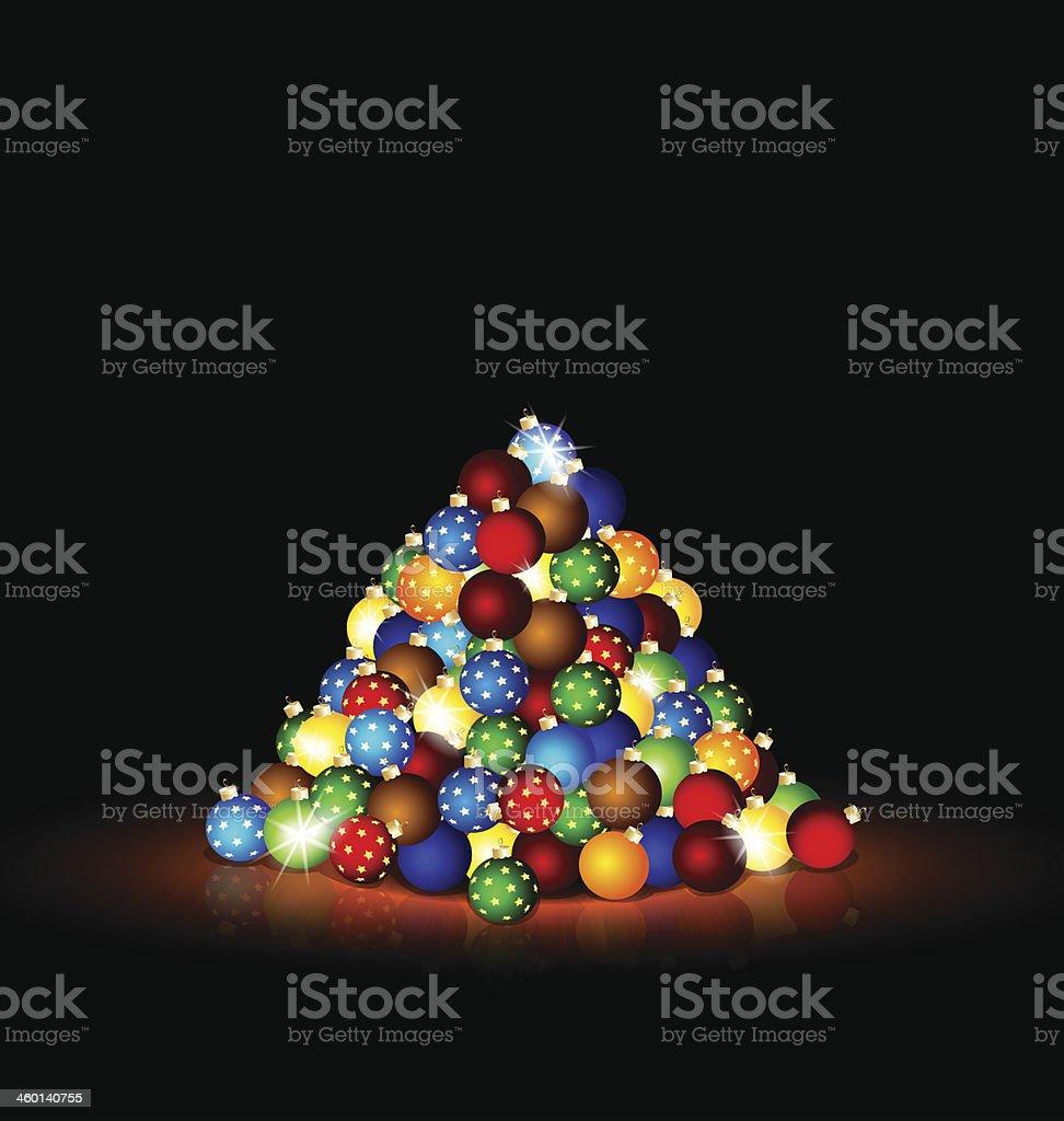 Christmas balls in the dark room royalty-free stock vector art