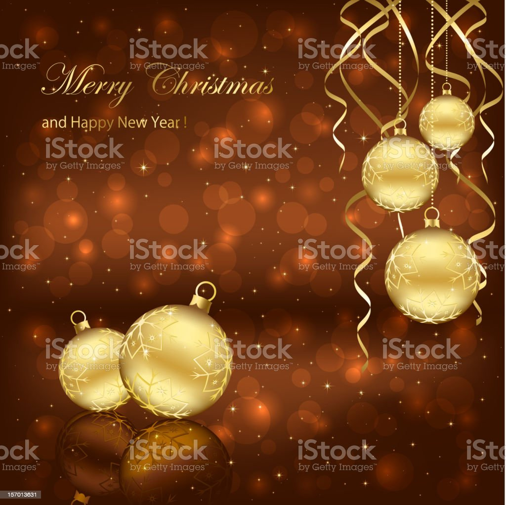 Decoration with golden Christmas balls on brown background,...