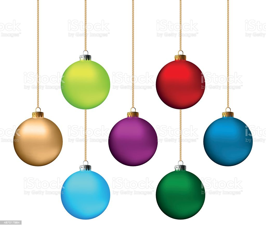 Christmas balls set vector art illustration