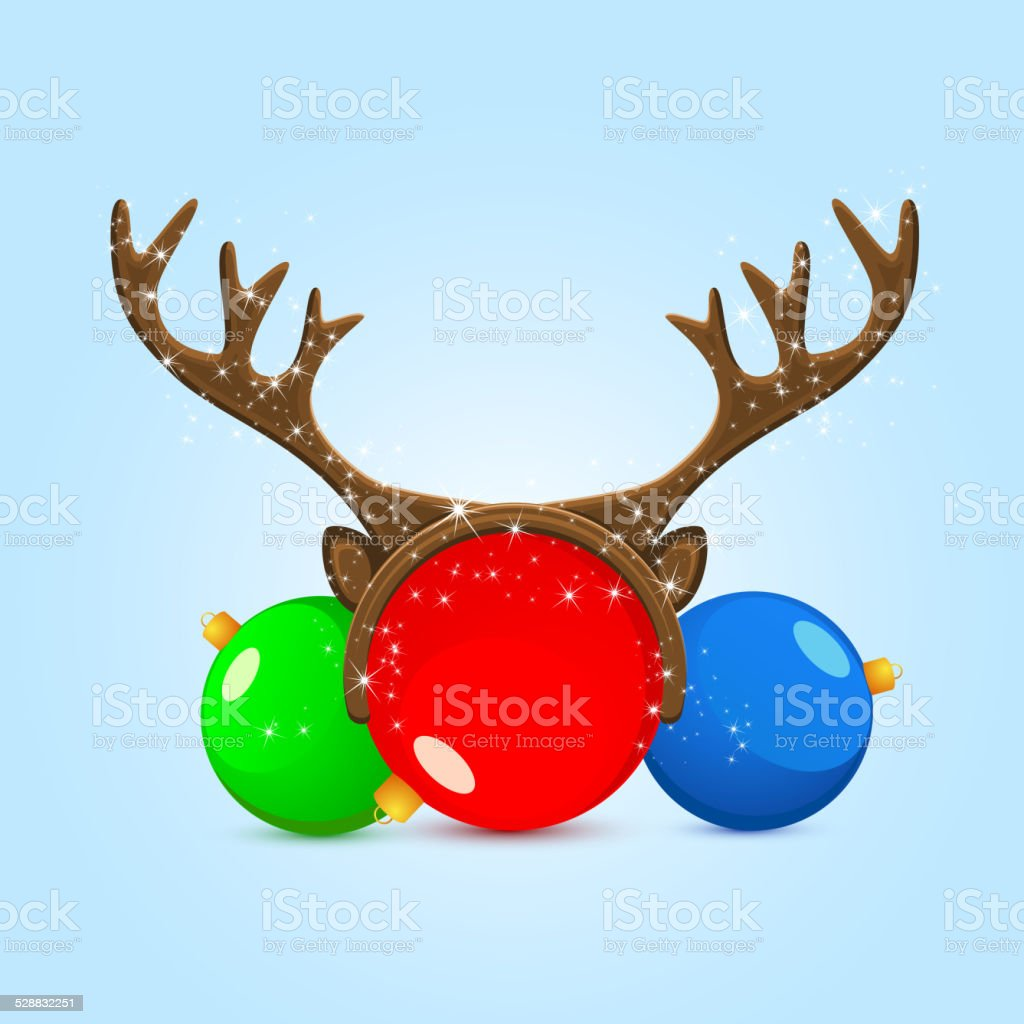 Christmas balls with antler vector art illustration