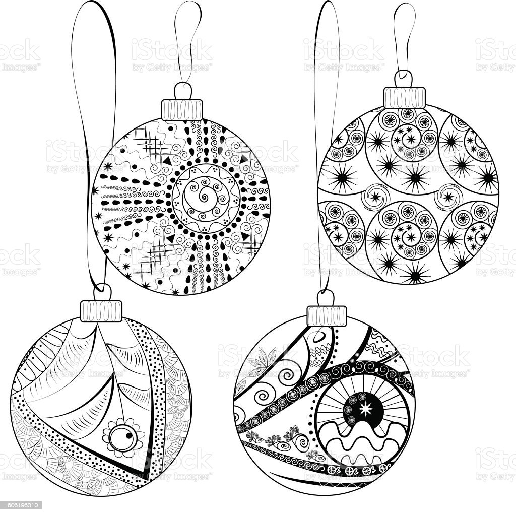 Christmas balls with graphic abstract ornament royalty-free stock vector art