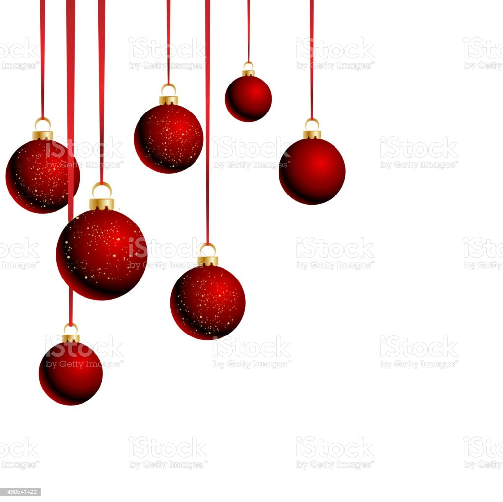 Christmas balls with ribbons on white background vector art illustration