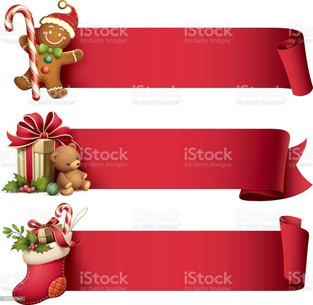 Christmas banner set vector art illustration