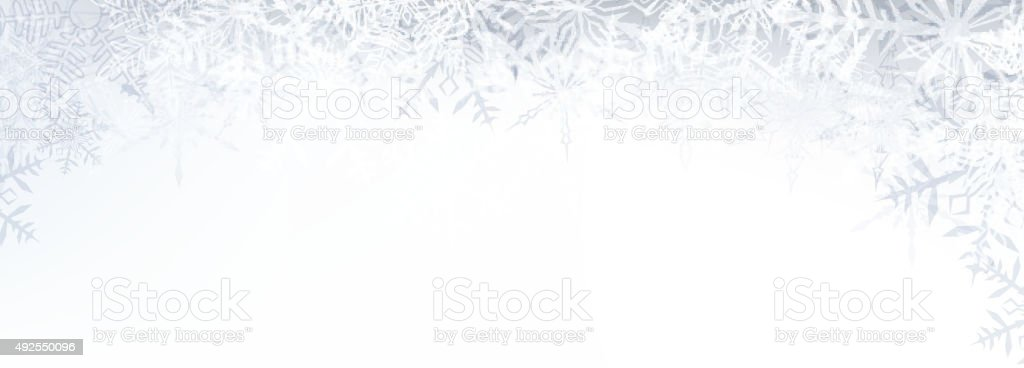 Christmas banner with crystallic snowflakes vector art illustration