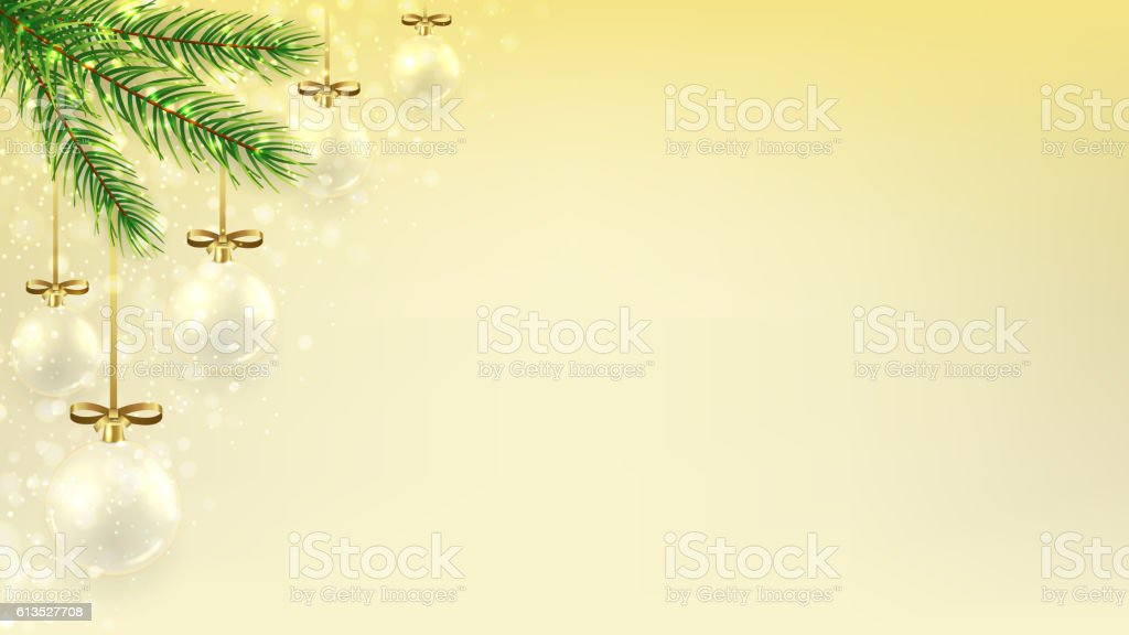 Christmas banner with glass balls on fir branches royalty-free stock vector art