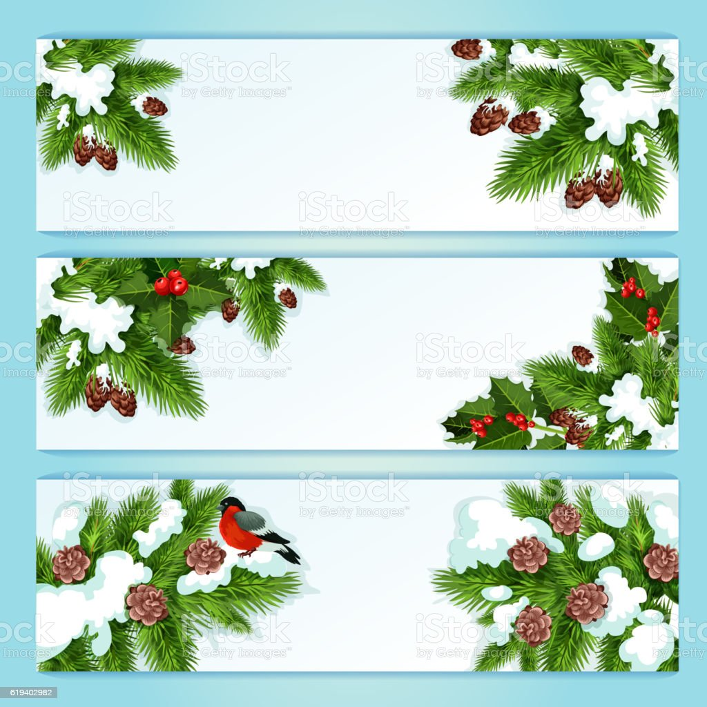 Christmas banner with holly berry and fir branches vector art illustration