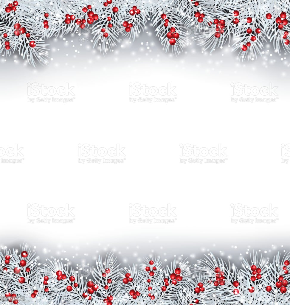 Christmas Banner with Silver Fir Twigs vector art illustration