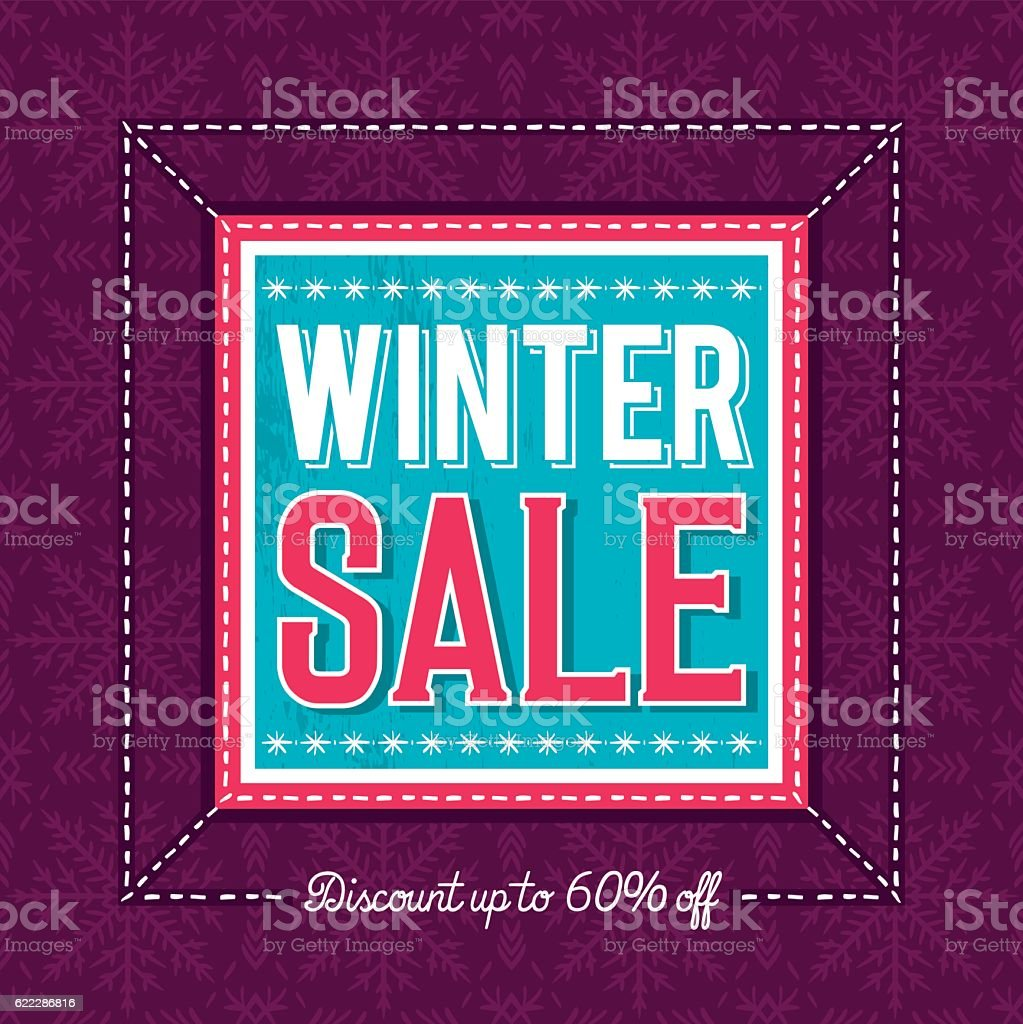 Christmas banner with snowflakes and sale offer, vector vector art illustration