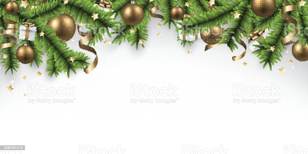 Christmas banner with spruce branches. vector art illustration
