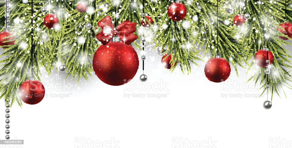 Christmas banner with spruce twigs vector art illustration
