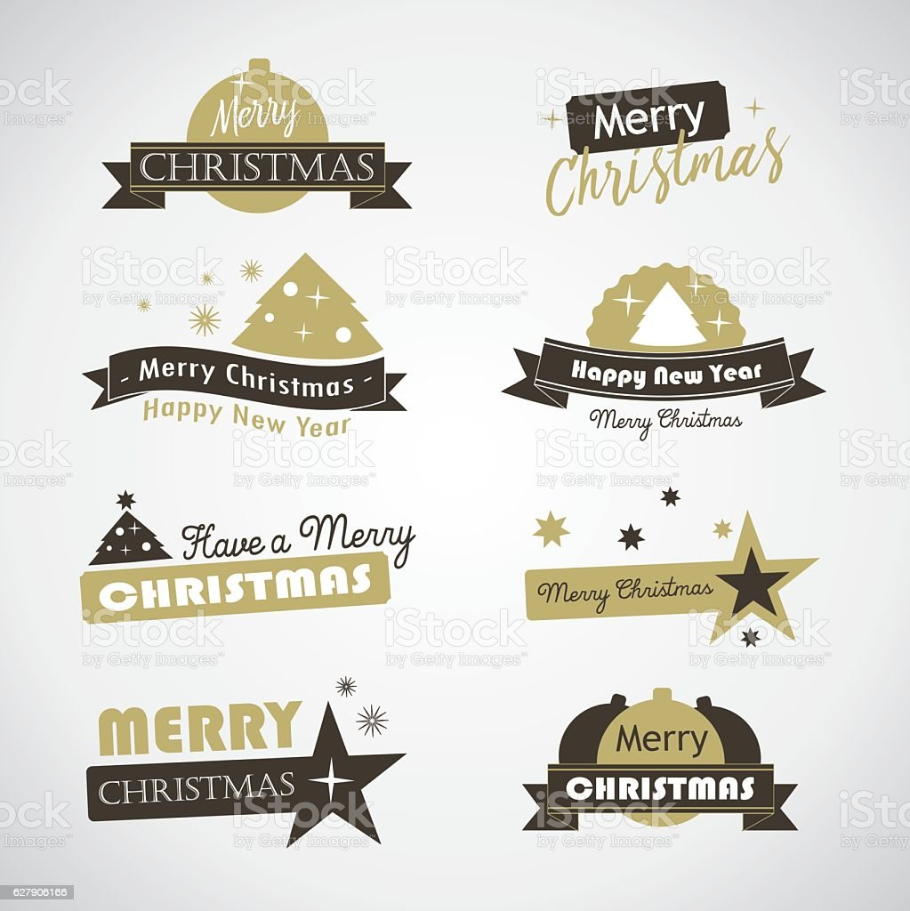 Christmas banners and labels royalty-free stock vector art