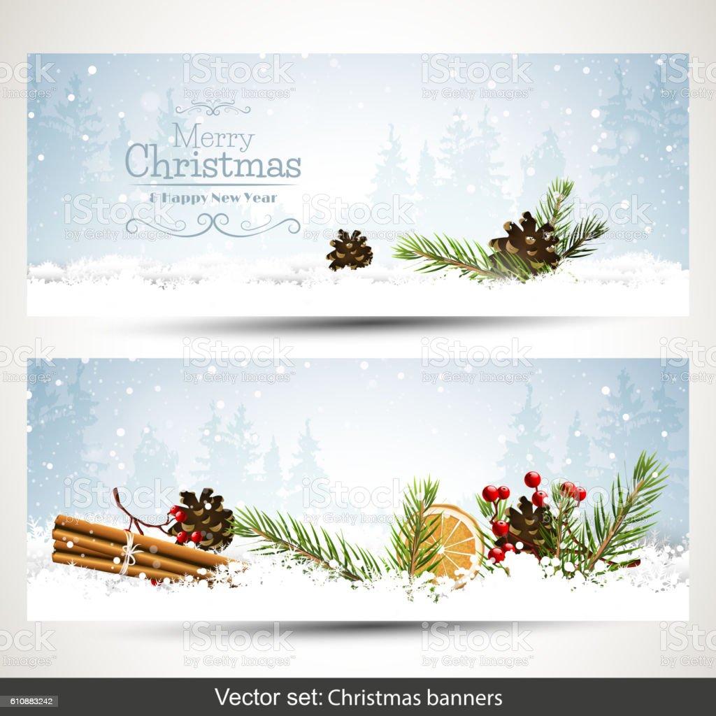 Christmas banners vector art illustration