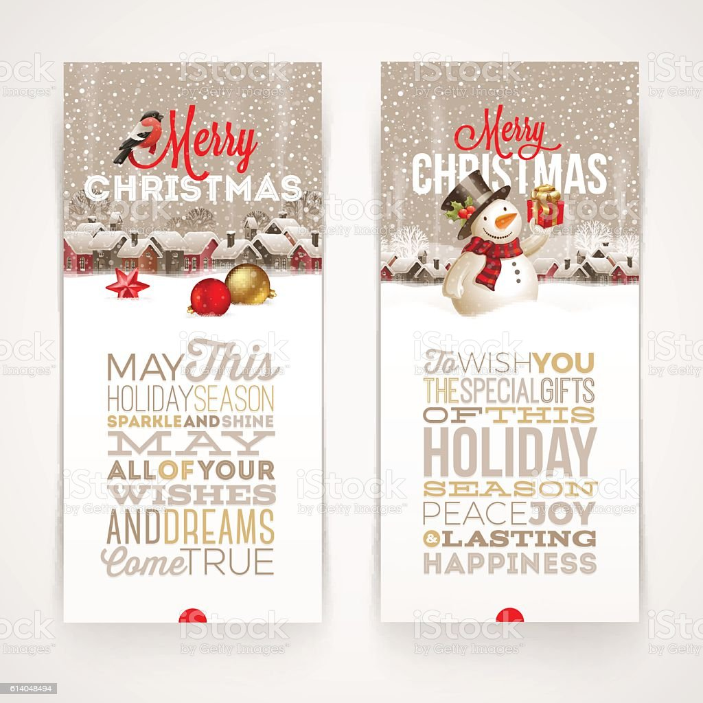 Christmas banners with type design vector art illustration