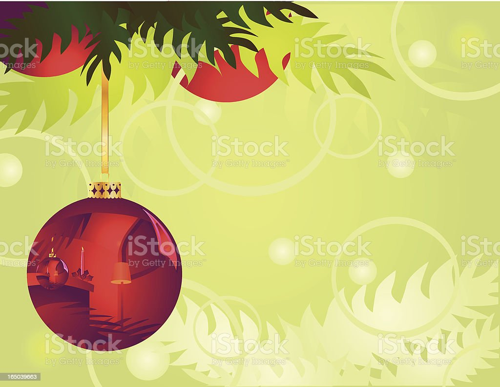 Christmas Bauble Ball–Red on Green royalty-free stock vector art