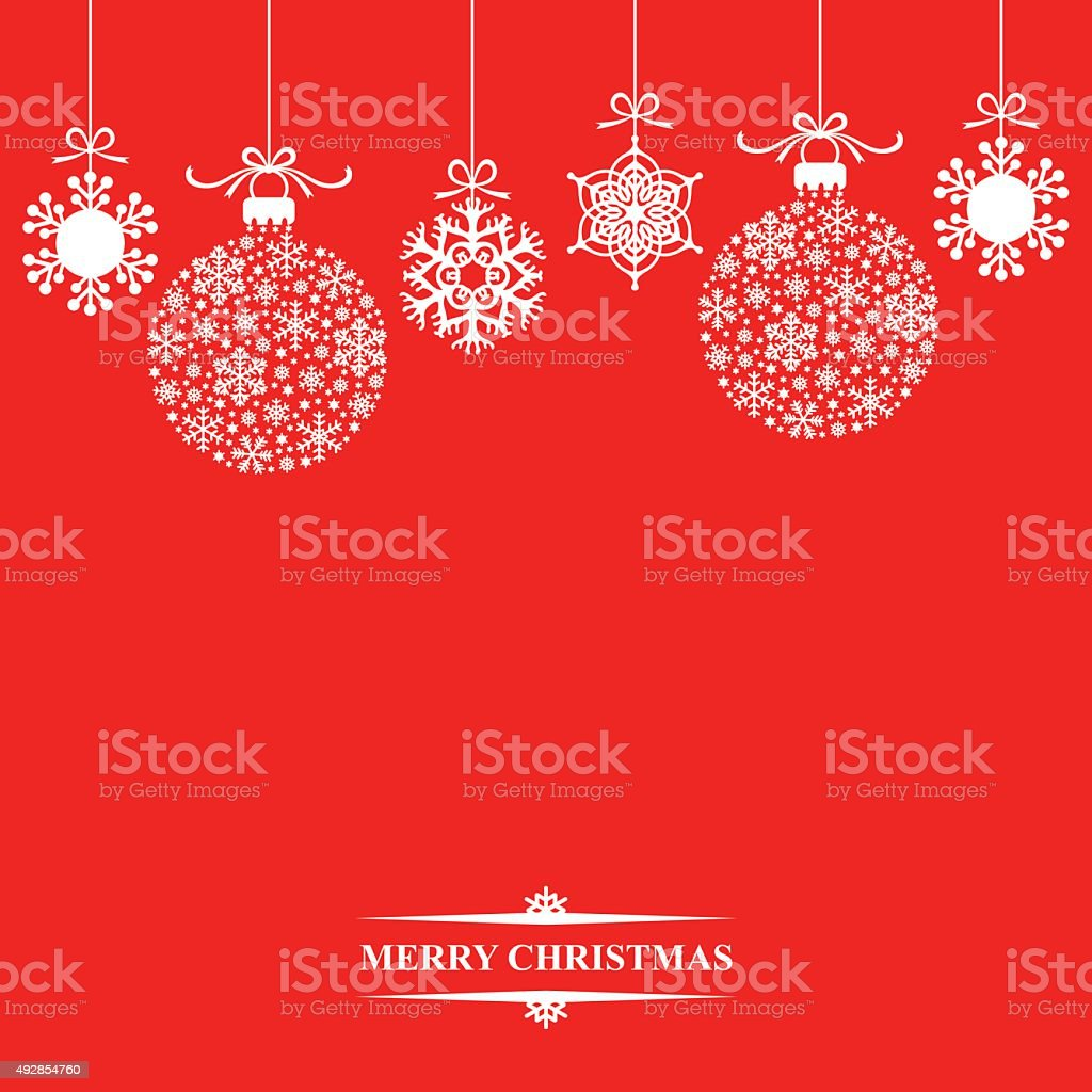 Christmas baubles and snowflakes vector art illustration