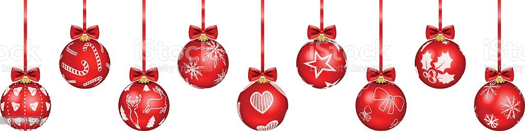 christmas baubles red vector art illustration