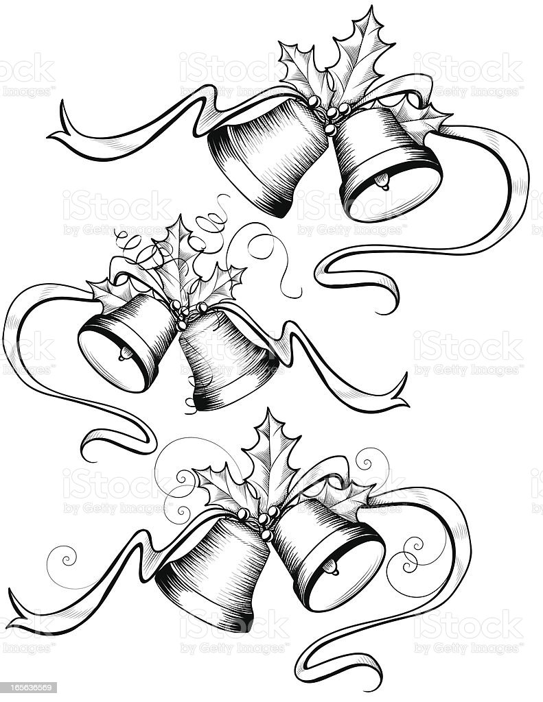 Christmas Bell Set with Holly - Vintage royalty-free stock vector art