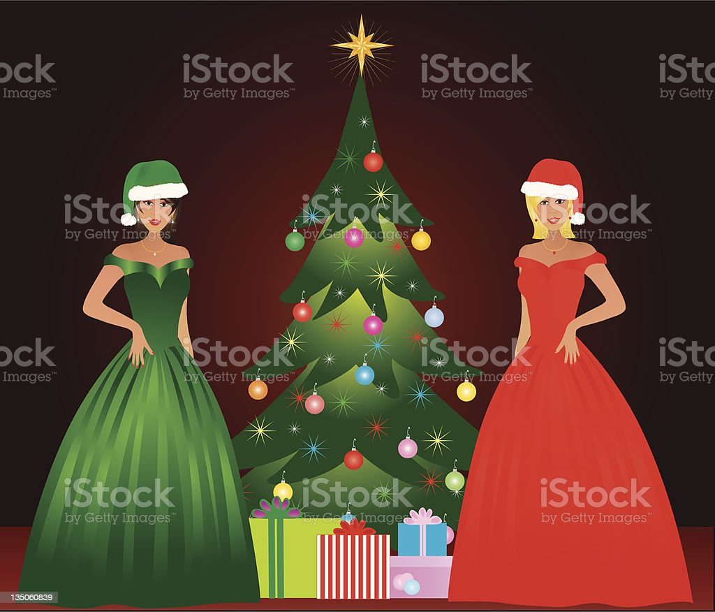 Christmas Belles royalty-free stock vector art