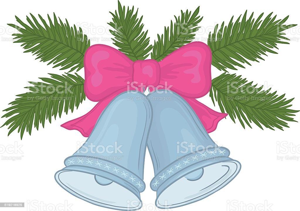 Christmas bells and fir branches vector art illustration