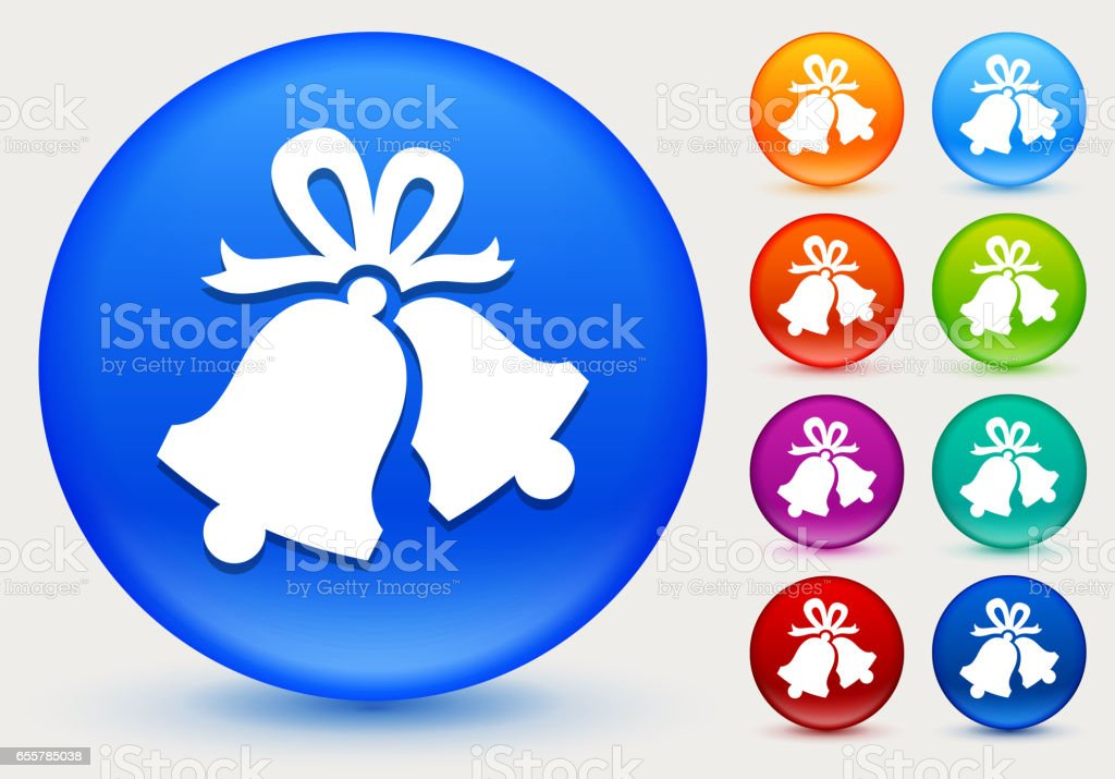 Christmas Bells Icon on Shiny Color Circle Buttons vector art illustration