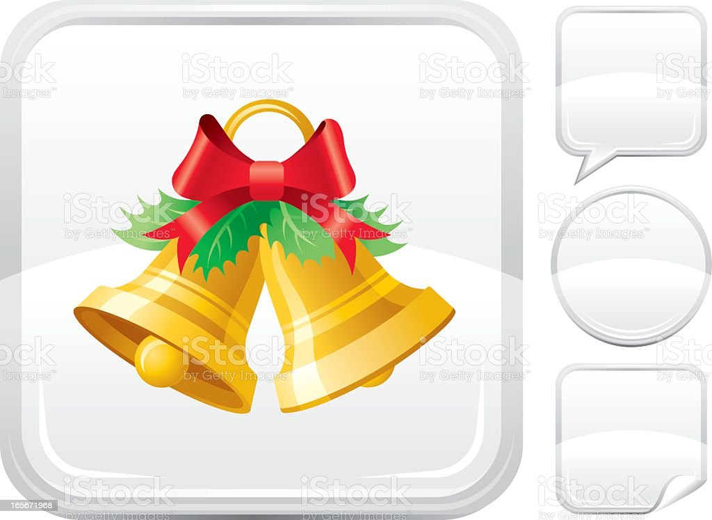 Christmas bells icon on silver button vector art illustration