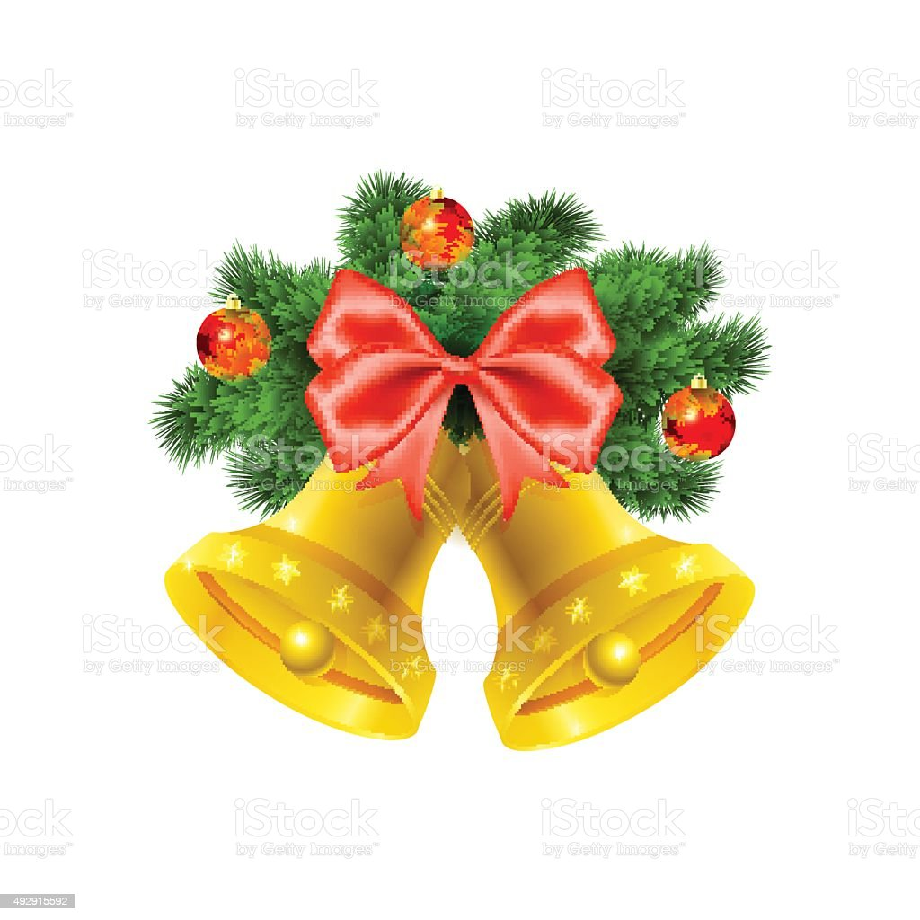 Christmas bells on white background vector art illustration