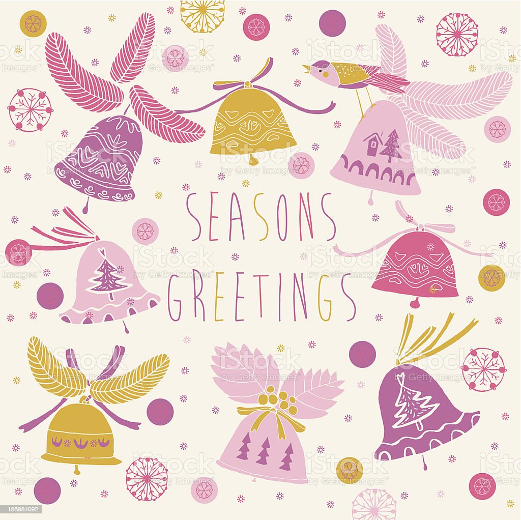 Christmas bells Seasons Greetings card design royalty-free stock vector art