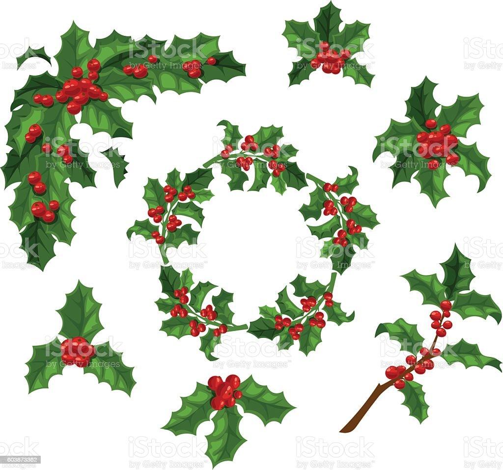 Christmas berry decoration vector set. vector art illustration