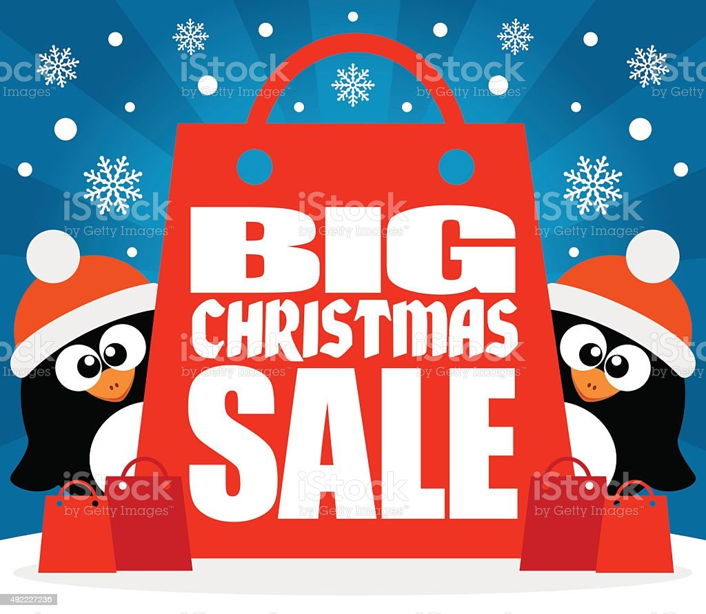 Christmas Big sale background with penguins vector vector art illustration