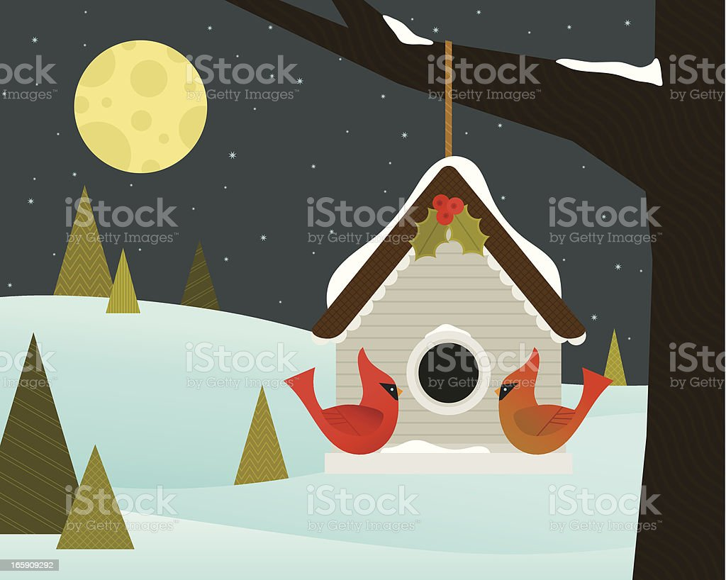 Christmas Birdhouse in the Forest royalty-free stock vector art