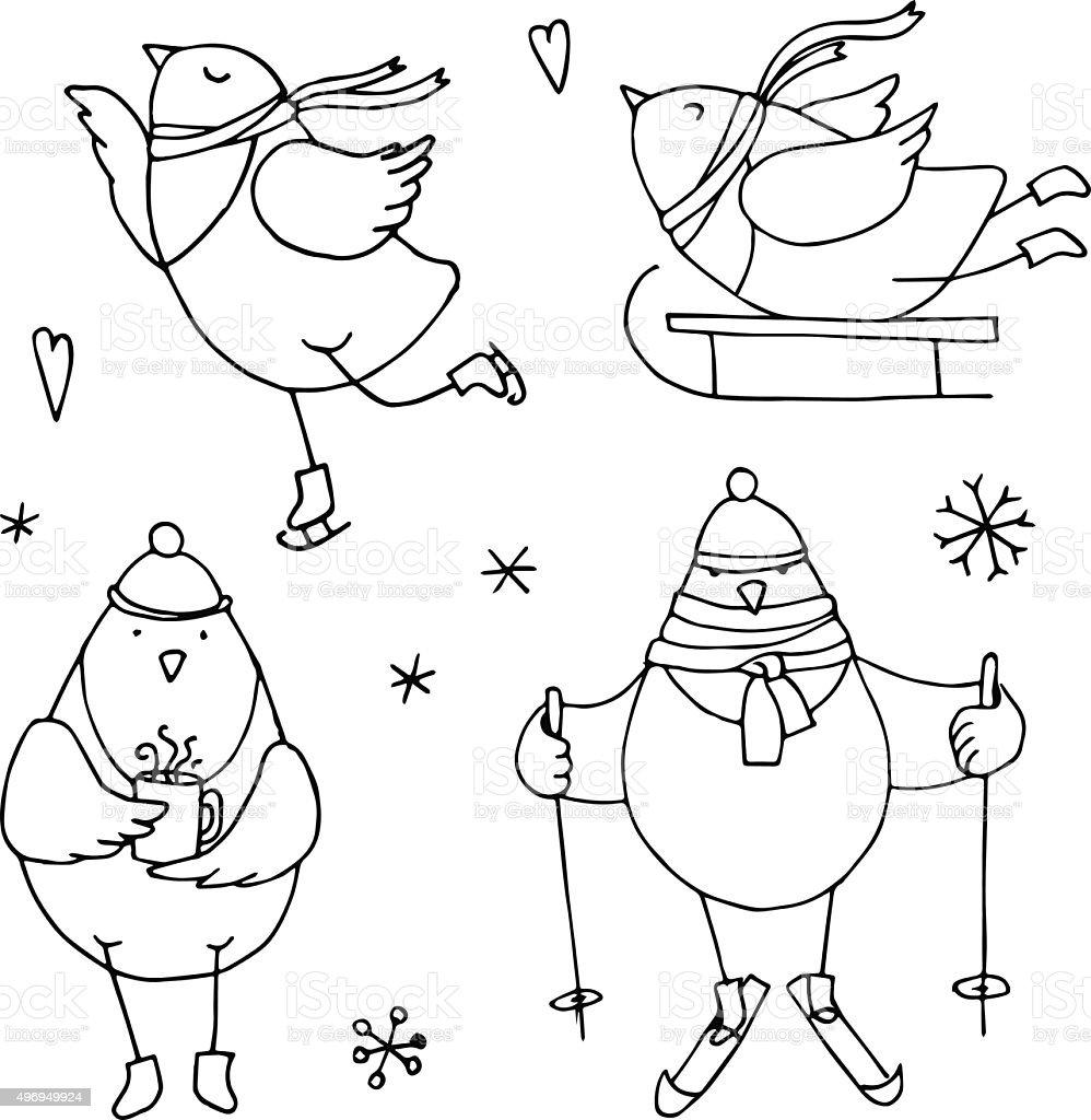 natal conjunto de pássarosilustração de contorno download vetor e