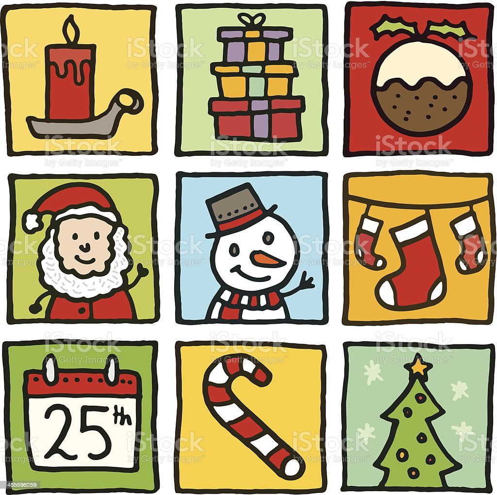 Christmas block doodle icons royalty-free stock vector art
